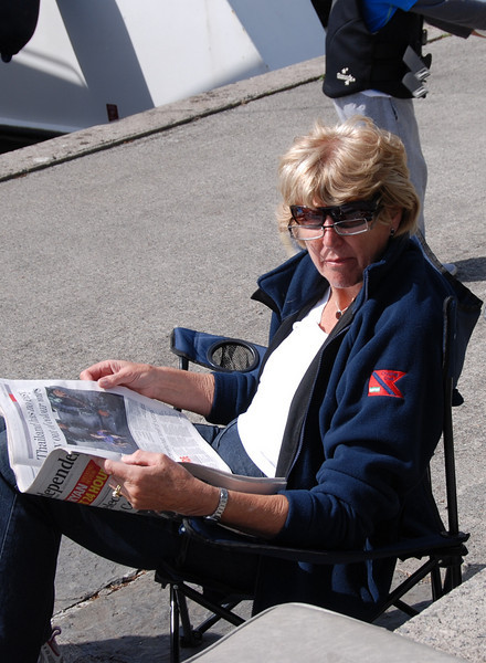 Rita Reid ('Miss Eva') catches up with a little reading on Saturday afternoon.