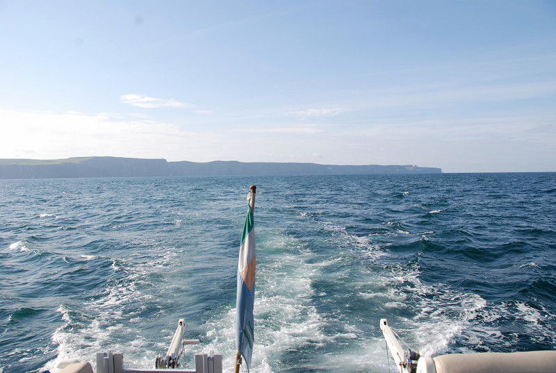 Leaving the Cliffs of Moher behind us as we head for the Aran Islands.