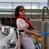 Mary, doing the ropes in the lock at Kilrush Marina as we get ready to set sail for Dingle.