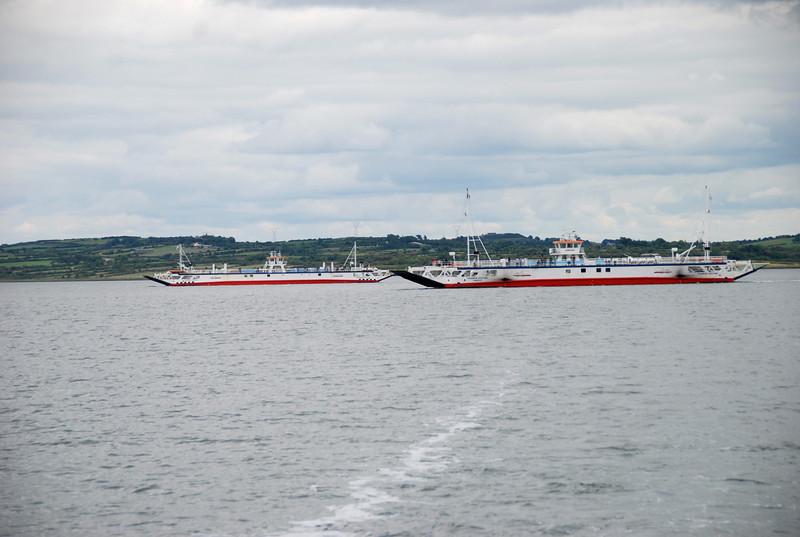 Killimer-Tarbert ferries in mid-channel...