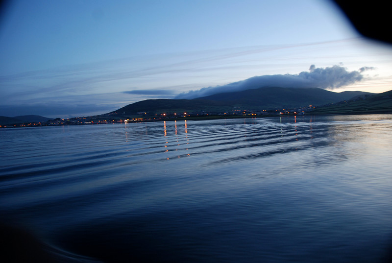 No sign of Fungi(e) as we take our leave of Dingle in absolutely flat-calm water.