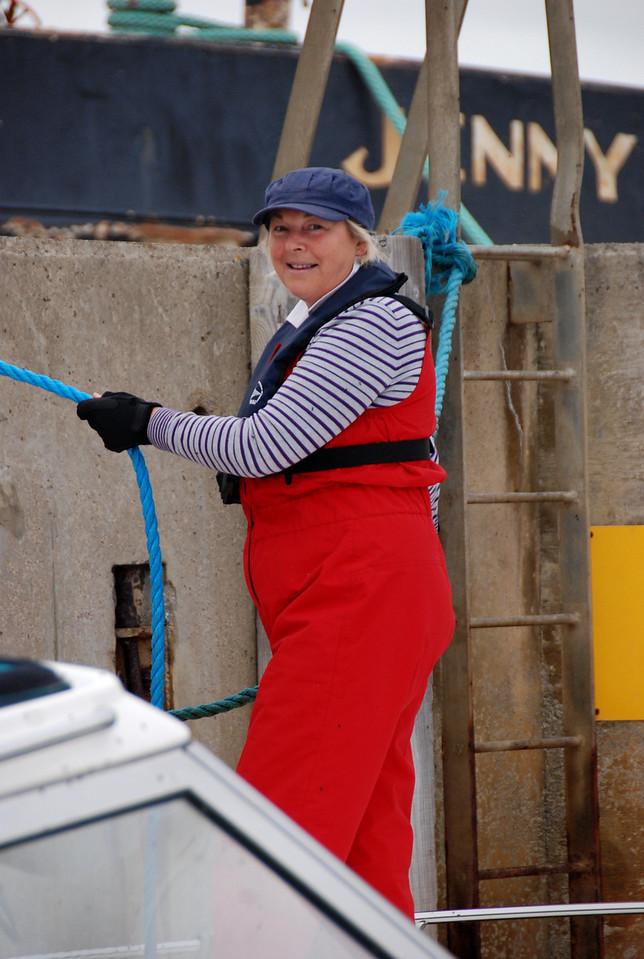 Gerladine doing the ropes on Nauti Buoy in Kilrush Creek Marina lock...
