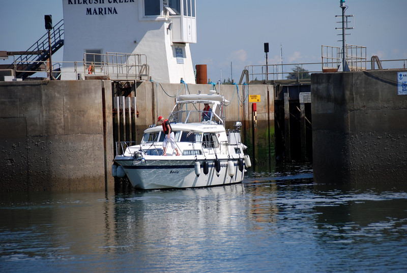 Besie exiting Kilrush Creek Marina lock.
