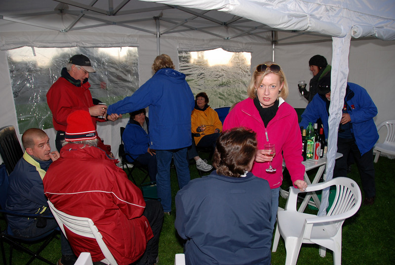 The 'Nibbles and Dribbles' took place in the Cruising Club's new marquee.