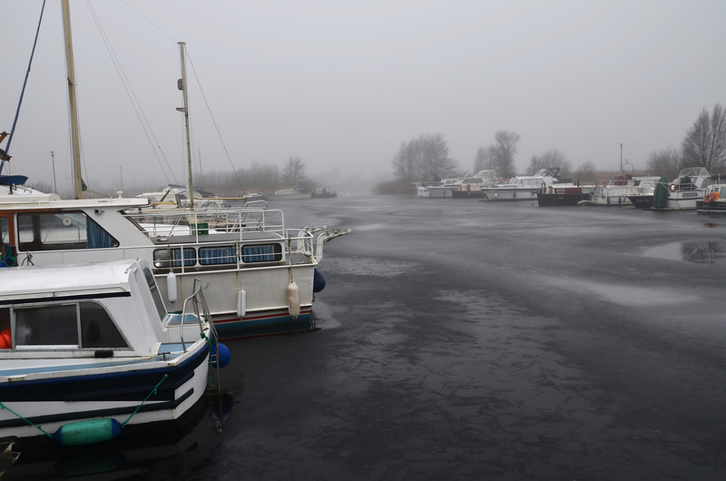 "Travelled to Portumna with a slight hope that the ice might have melted sufficiently due to the thaw that had occurred on Wed evening and all dayThursday and Friday. Arrived in Maddens Marina late Friday afternoon. Could not see the state of the marina clearly at that time. Took this shot circa 10.45 on Saturday morning.... :-(<br /> <br /> Anny lingering hope faded quickly when I viewed the marina on Saturay morning from ""Arthur's"" stern...."