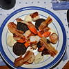 And Mary cooked a corker of a dinner that evening! Scallops, Black Pudding, Pancetta with a Puree of Cauliflower.  All washed down with a bottle of Woolaston Pinot Gris, 2005.