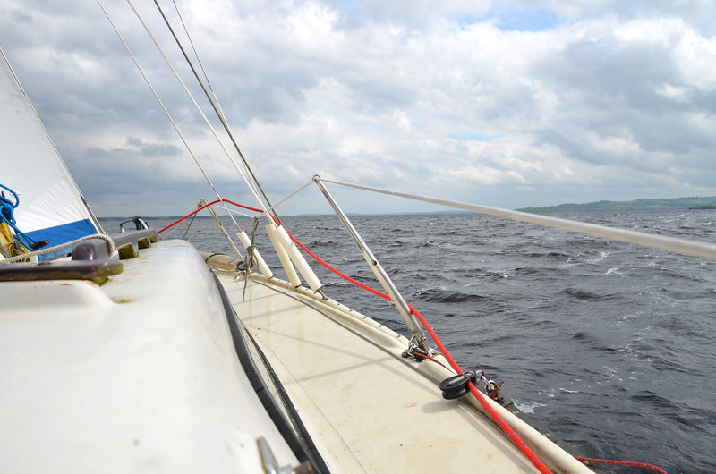 Here we go....the wind catches the sails and the vessel leans to one side.  You think that it must fall over...but that is the magic of sailing....she holds steady even at quite an angle to the water....and she just keeps on going. Exhilarating.