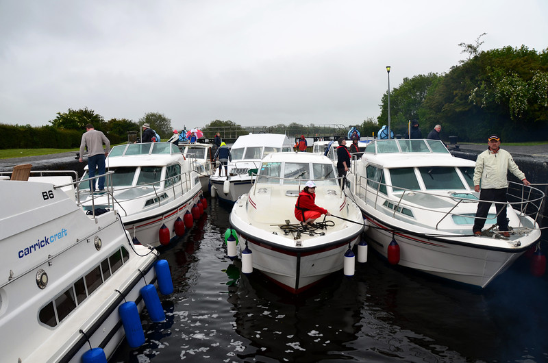 So, passing out all those other boats on the passage from Portumna simply led to Arthur being on the front row in the lock! A fairly full lock...ten boats in all.  And all having to exit in single file because again there was only a single gate in operation!