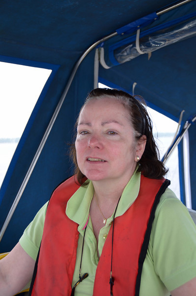 Mary at the helm while I take a few photos...