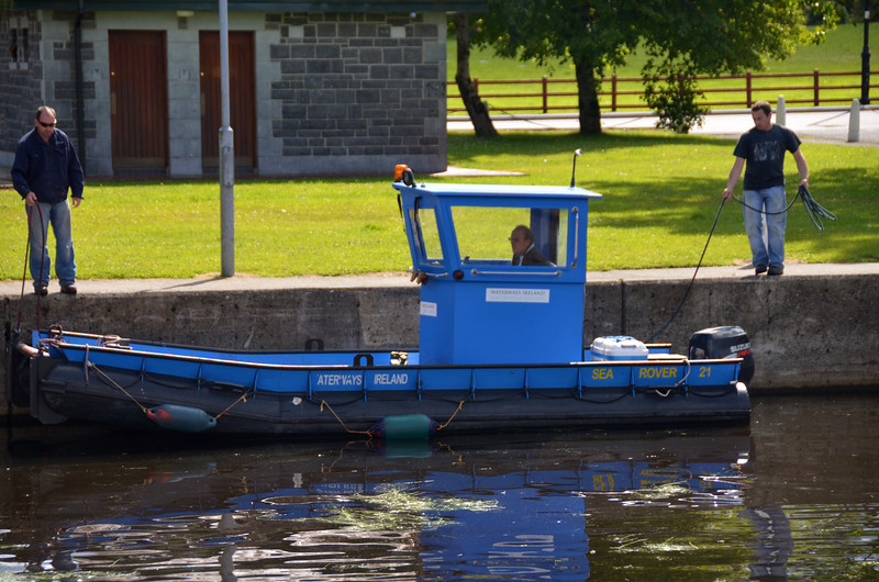 A Waterways Ireland workboat about to exit the public harbour.