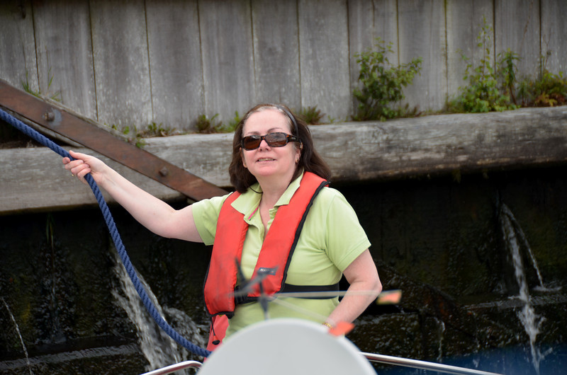 Mary doing the bow rope in the lock.