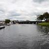 """Arthur"" passes through the bridge at Carrick-on-Shannon...heading upstream to Lough Key."