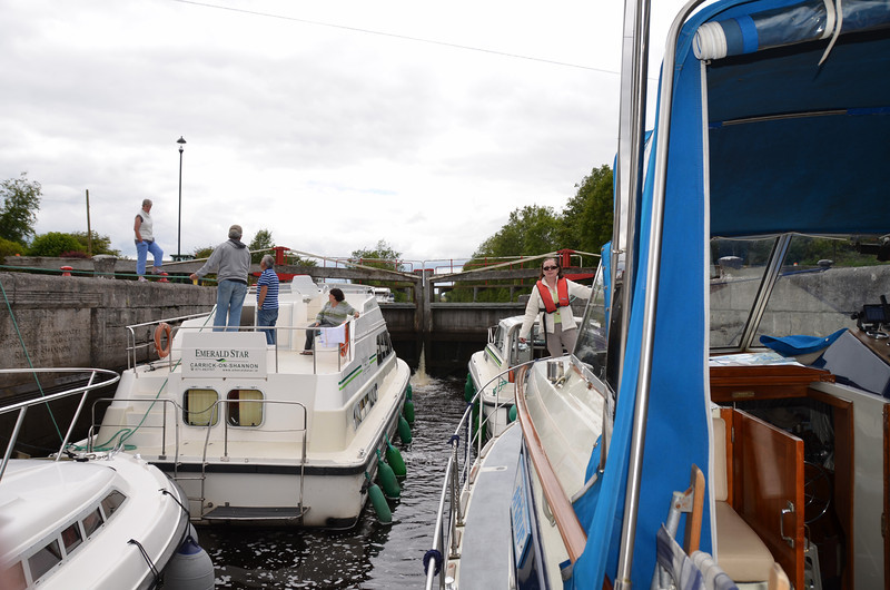 Waiting to exit the lock and navigate the Jamestown Canal...
