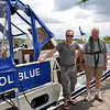 We passed through the lifting bridge circa 14.00 and moored up temporarily just above the lock.  And lo and behold ...who did we encounter but Rich of Cool Blue! Rich is pictured here with his father.