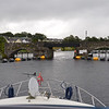 """Arthur"" about to pass under the bridge at Killaloe."