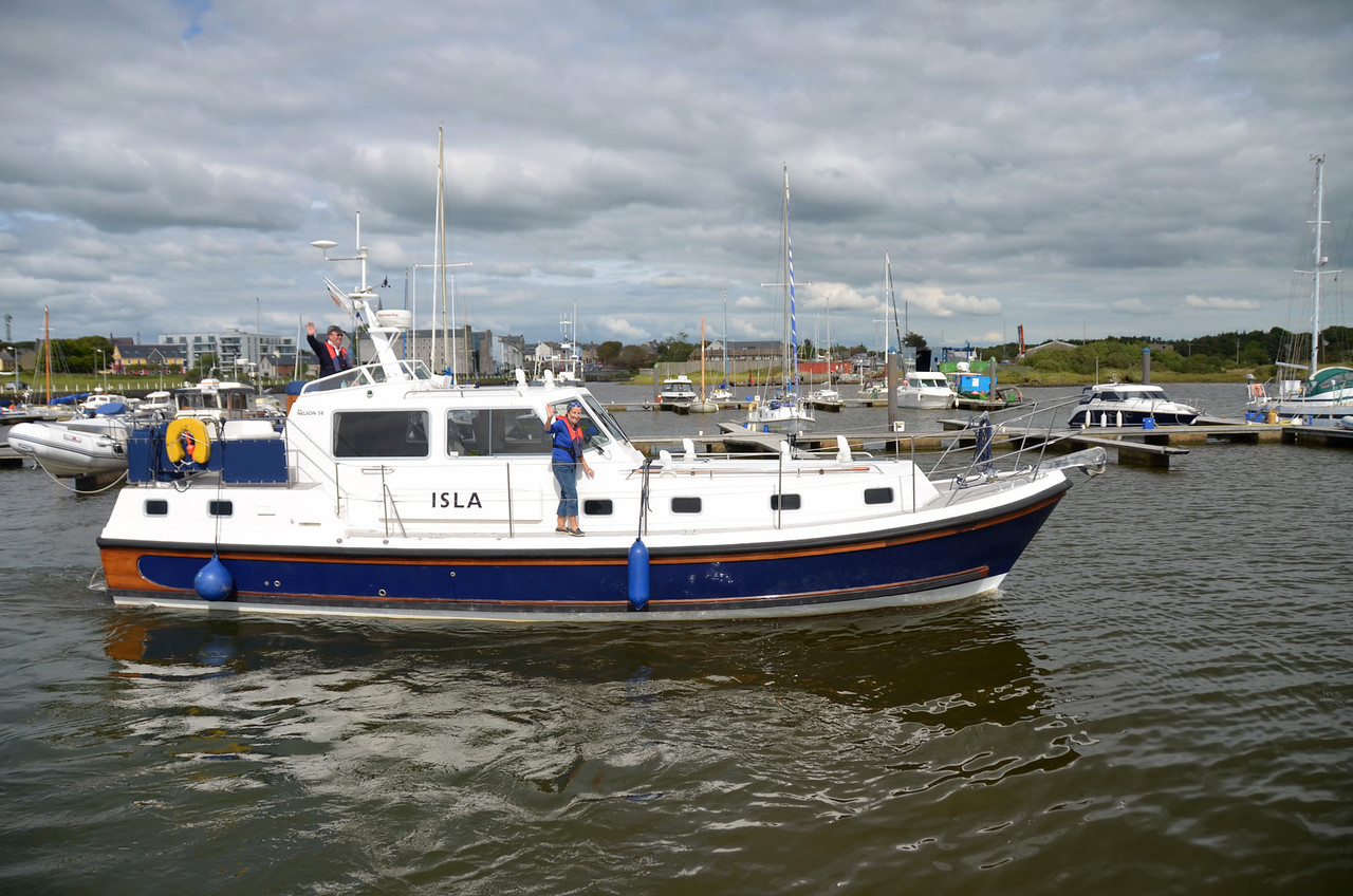 """And as we entered Kilrush Marina (I think the 'Creek' bit has now been dropped from the name!) who did we meet but Eric & Mary Hopkins on Isla. They were heading home after having spent a short time in Kilrush and on the Shannon Estuary.<br /> <br /> And so, safely ensconced in Kilrush Marina, we decided to wait for a coupe of days...just in case the weather might change in which case we could easily launch ourselves to sea once again.<br /> <br /> Alas, after a couple of days in Kilrush and with no change in the weather, we sadly concluded that it was the end of our summer coastal cruising odyssey for this year and we can but look forwar to 2012 when we will start earlier and give oursleves the best chance of availaing of all suitable cruising weather options that unfold.  And between now and then we will continue to cruise on the wonderful inland waterways that we enjoy so much, particularly during the spring, winter and autumn months.<br /> <br /> So this year we learned that our tolerance level was raised re acceptable coastal cruising weather conditions. We feel that we can cope with higher winds and wave height than we previously thought acceptable. And we will study weather conditions more closely in the future with regard to wind direction and wave direction.  Following seas make for much more comfortable cruising conditions.<br /> <br /> It was a good couple of weeks with a nice combination of cruising interspersed with rest days in various locations. And we covered more ground in a shorter space of time this year than we had in previous years.  <br /> <br /> Looking forward to summer 2012.<br /> <br /> """"Arthur"""", out and listening!"""