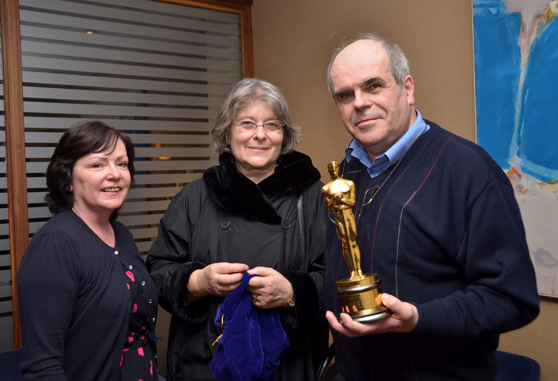 """Captain Paul of """"Arthur"""", holding the Oscar that Dimitri Tiomkin won for his score for the movie 'The High And The Mighty', together with Mary Healy and Mrs. Olivia Tiomkin Douglas.  <br /> <br /> Film Music has long been one of my major interests, ever since I was a teenager.  This evening, both the concert itself and the post-concert session in the Conrad Hotel, was a truly memorable occasion for me. <br /> <br /> 'Nuff said ... onto """"Arhur""""..."""