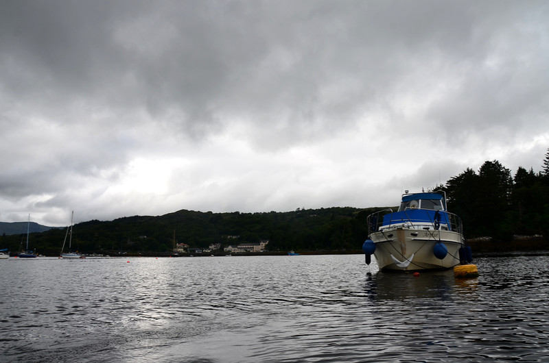 """""""Arthur"""" on a mooring buoy in Glengarriff Harbour.<br /> <br /> Mooring is not as easy as first seems!  <br /> <br /> Video clip (2mins 25 secs) of our first attempt:can be viewed here:<br /> <br /> <a href=""""https://www.youtube.com/watch?v=BrrtPop81N4"""">https://www.youtube.com/watch?v=BrrtPop81N4</a>"""
