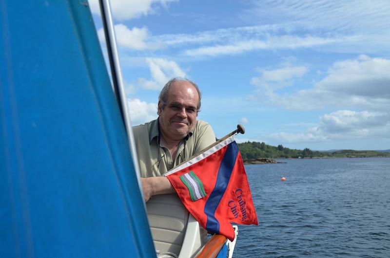 Flying the Cruising Club flag (okay, burgee) in Glengarriff Bay.