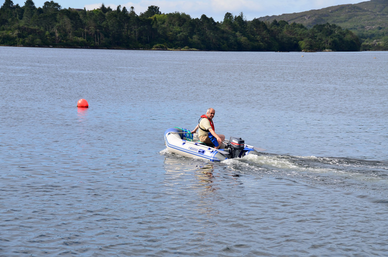 Paul gives the dinghy a run-out. A dinghy or RIB is an absolute necessity in places like Glengarriff!