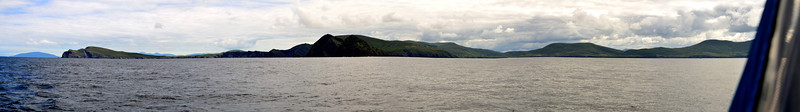 Friday, 20th July, 2012.  Arthur on a passage from Cahersiveen to Lawrence Cove Marina. I took this panorama as we passed Kenmare Bay....just  before we met the dolphins!