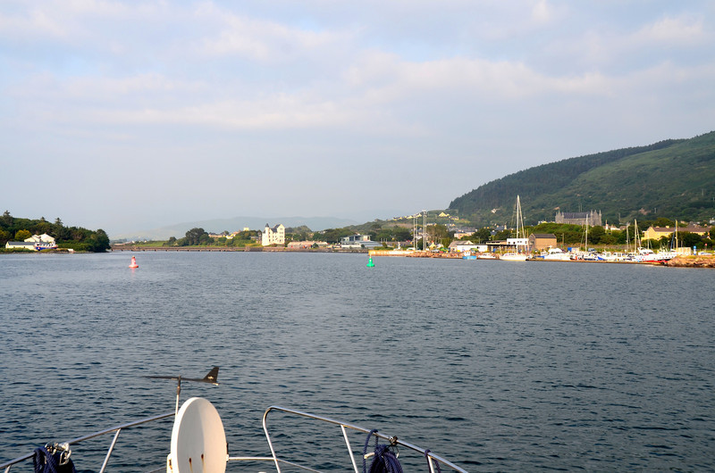 19:30 hrs . Arriving at Cahersiveen Marina on the banks of Valentia River...over nine hours since we departed Kilrush Creek Marina! Note the old RIC Barracks in background, slightly left of centre of photo.