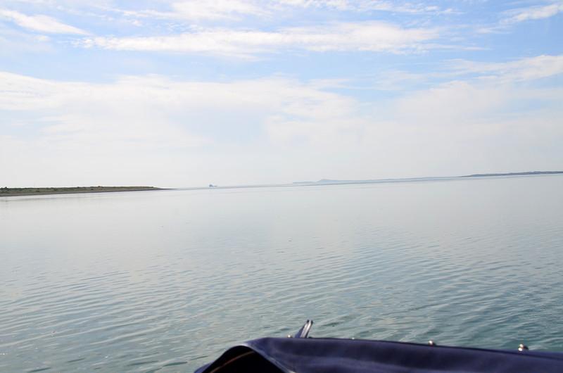 "Looking down the Shannon Estuary as ""Arthur"" makes its way into Kilrush Creek Marina."