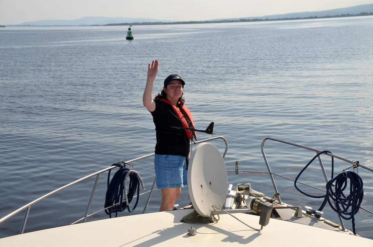 Mary waves 'Au revoir' as Arthur heads down Lough Derg for an overnight at Killaloe.