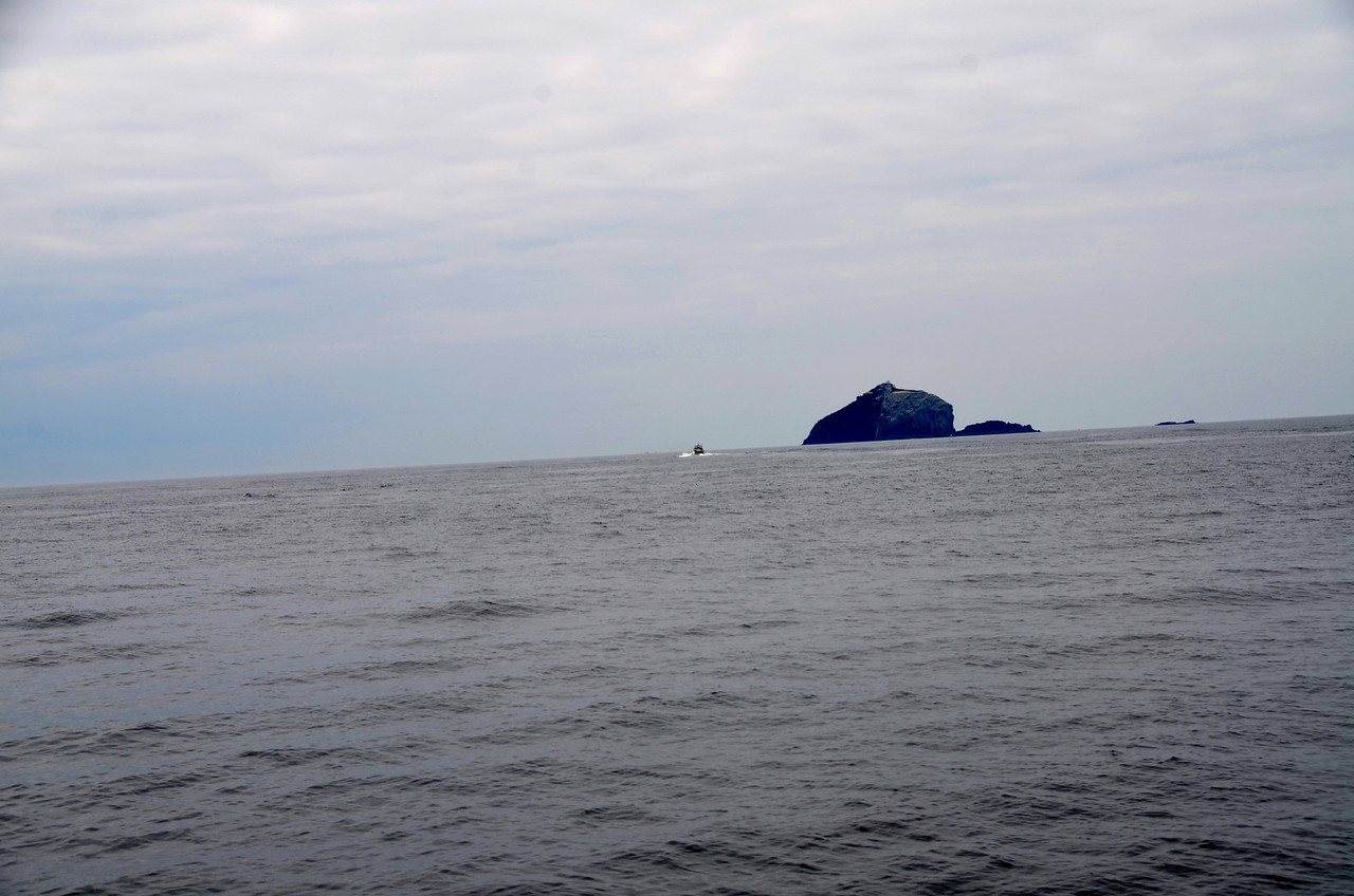"""""""Pantou Pao"""" takes her leave and heads in the direction of 'The Bull' the largest of three rocks (islands?) known as the Bull, The Cow, and The Calf which are located just off Dursey Head."""