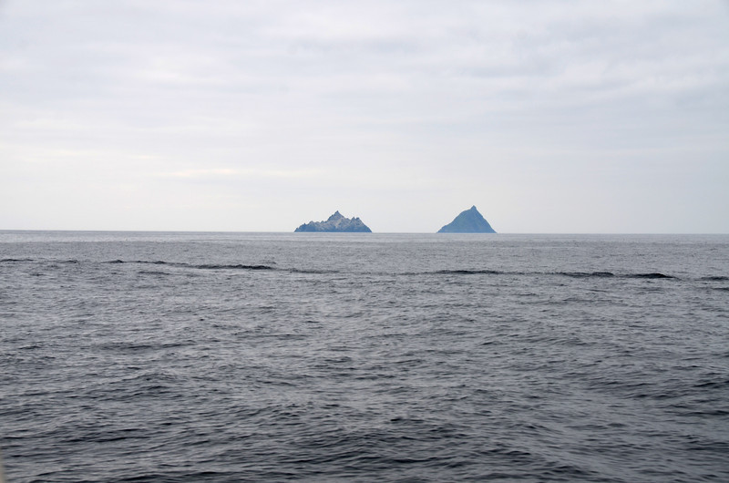 "The Skelligs! Some day... when we have a few spare hours. The wake is from ""Pantou Pao""."