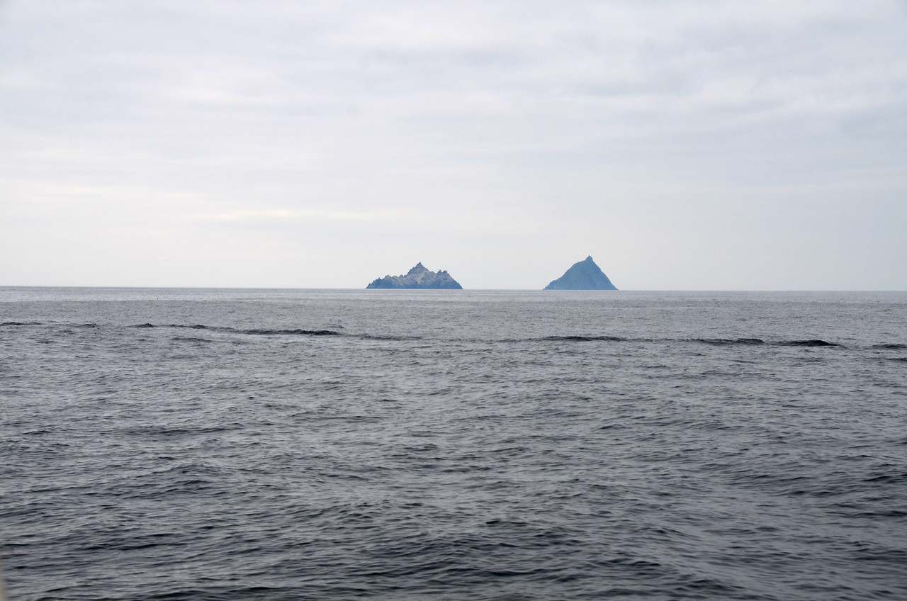 """The Skelligs! Some day... when we have a few spare hours. The wake is from """"Pantou Pao""""."""