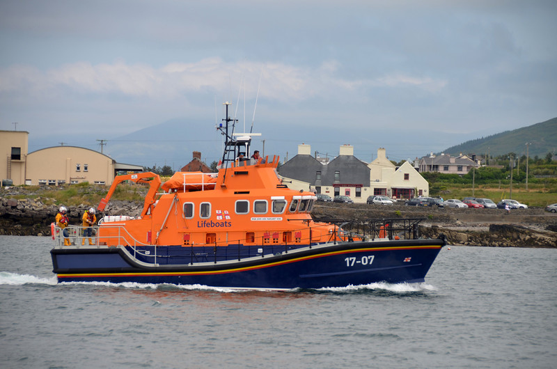 "The Valentia based RNLI Lifeboat, ""John and Margaret Doig"", joined in a public display of skill with an Irish Coastguard helicopter."