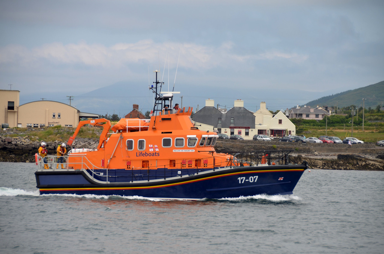 """The Valentia based RNLI Lifeboat, """"John and Margaret Doig"""", joined in a public display of skill with an Irish Coastguard helicopter."""