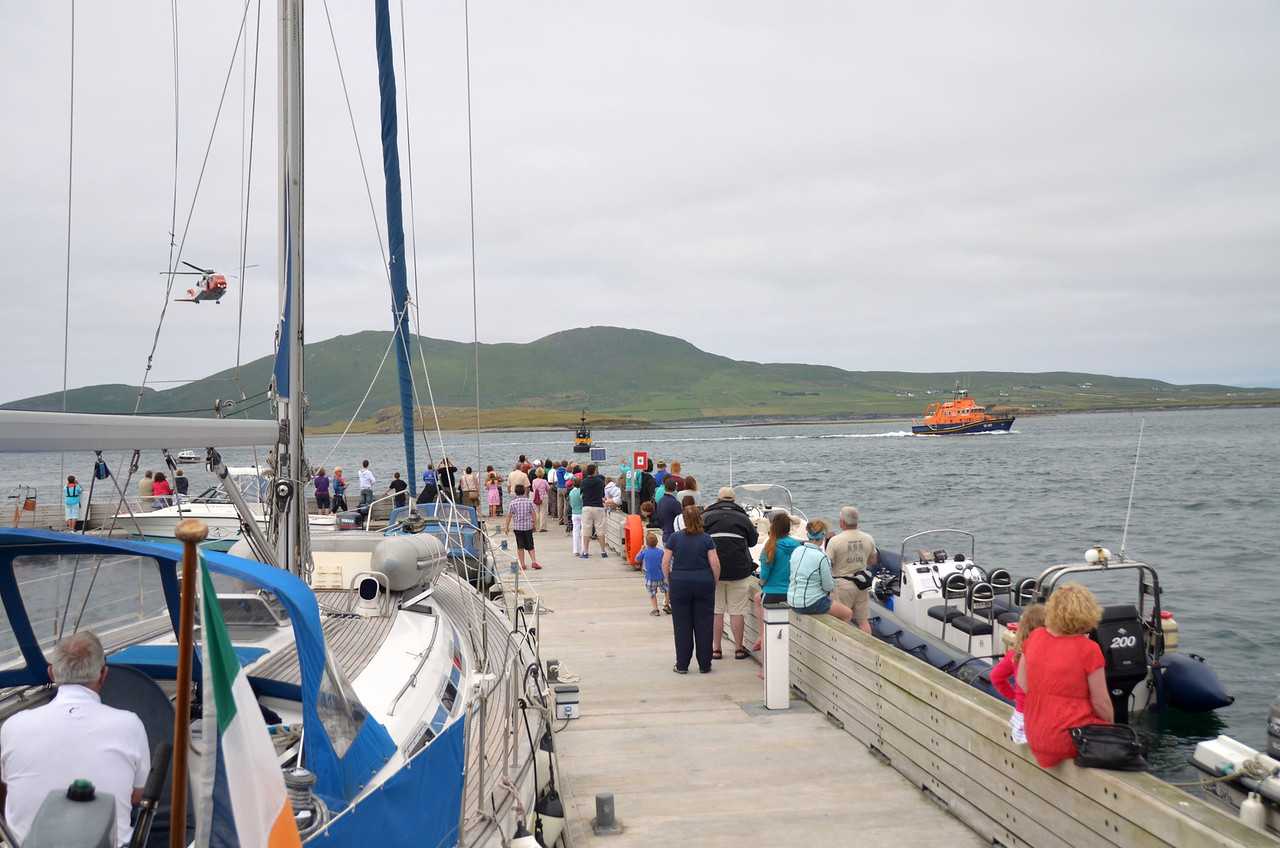 The public watch the demonstration by RNLI and ICR.