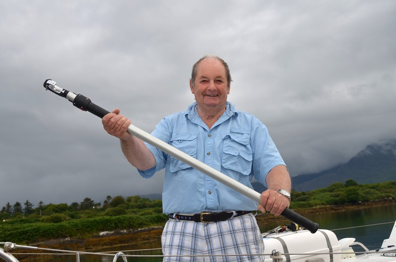 Len with his mooring hook which he used in Glengarriff!