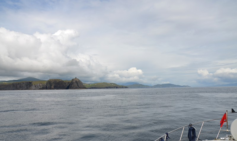 Circa 16:15...Cruising up Bantry Bay. Black Ball Head with the old watch tower atop is visible to left of photo.