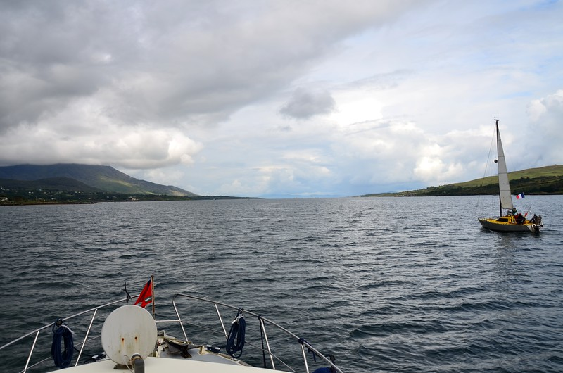 On Berehaven. Bere Island on the right. Roancarrigmore, with old lighthouse, at Eastern entrance to Berehaven, is in centre of photo in the distance. That is the route we will take if we head to Glengarriff or Bantry Harbour.