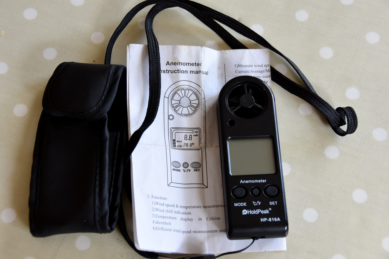 The small hand-held Anemometer, with carrying case and 'instruction leaflet', which I purchased via Amazon several years ago.  It comes in handy when attempting to identify wind levels. I paid £27.98 when I purchased it in January 2011... prices have reduced since then!