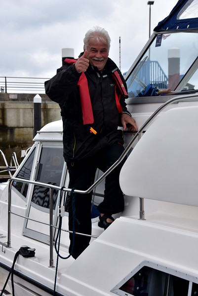 A thumbs up from Pat  who has just completed his first coastal passage.