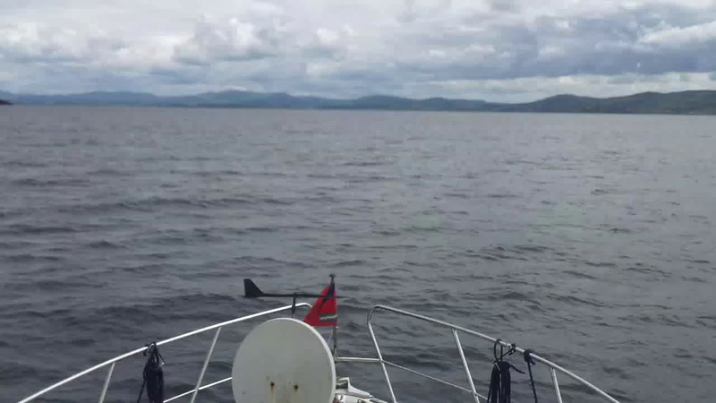 "VIDEO<br /> <br /> 12:20...click the above image to view a 50 second video clip  of ""Arthur"" heading up Bantry Bay towards Glengarriff. <br /> <br /> When the video is 'Loaded' you will need to click on the 'Play' button to start the video playback.<br /> <br /> NOTE that viewing the video will cause another page to open in which the video will play. To return to the PhotoJournal click on the X at top right-hand corner of the video page  OR hit the 'Back' button on your browser."