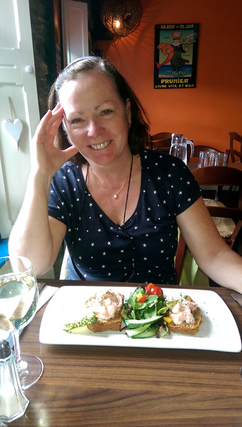 Mary with her Open Prawn Sandwich on Brown Bread. We enjoyed a  delightful lunch. And wine is available!