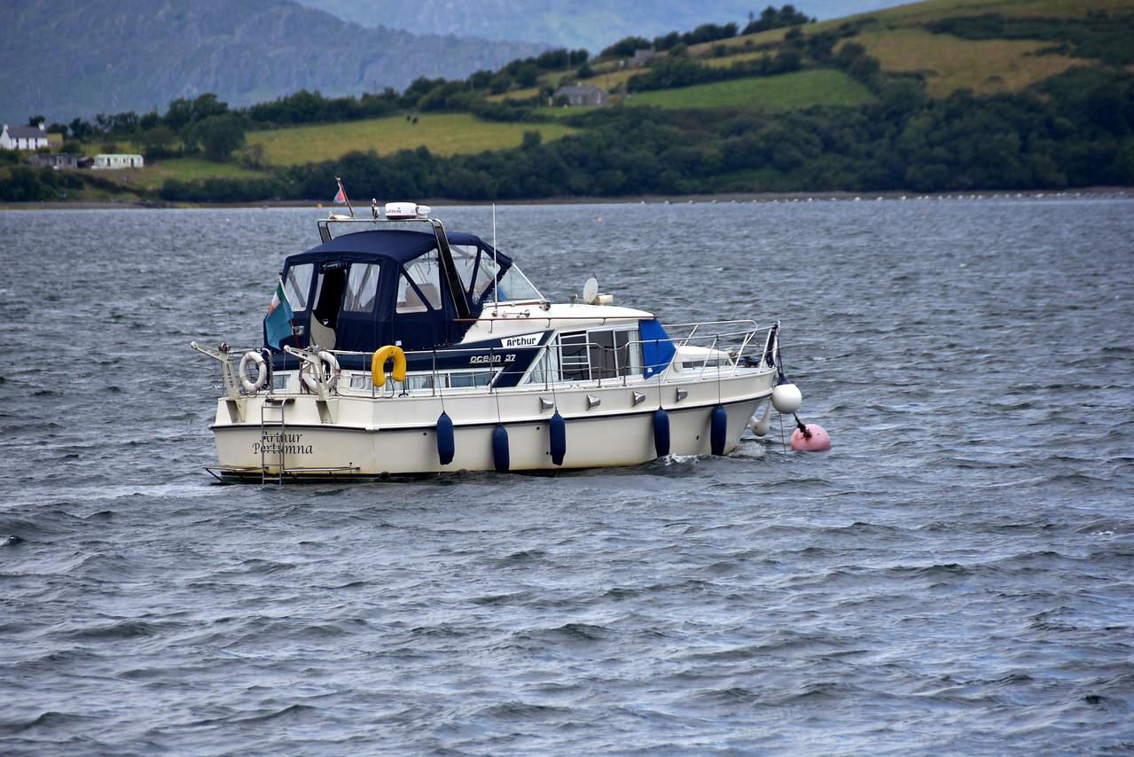 14:10... Arthur on her mooring in Bantry Harbour.