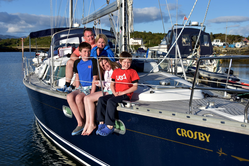 Paddy & Michelle d'Arcy with family/crew on their yacht 'Crosby'.
