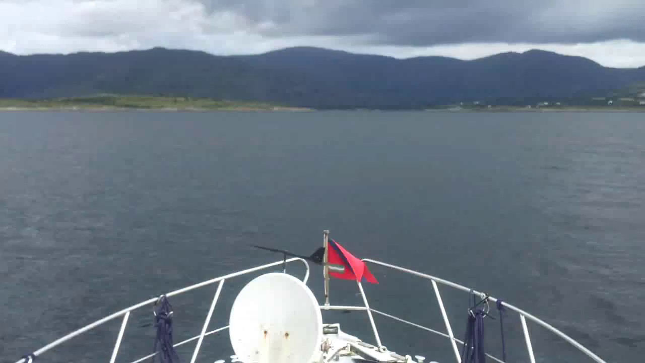 "VIDEO<br /> <br /> 11:45...click the above image to view a 31 second video clip  of ""Arthur"" approaching the entrance to Adrigole Harbour. <br /> <br /> When the video is 'Loaded' you will need to click on the 'Play' button to start the video playback.<br /> <br /> NOTE that viewing the video will cause another page to open in which the video will play. To return to the PhotoJournal click on the X at top right-hand corner of the video page  OR hit the 'Back' button on your browser."