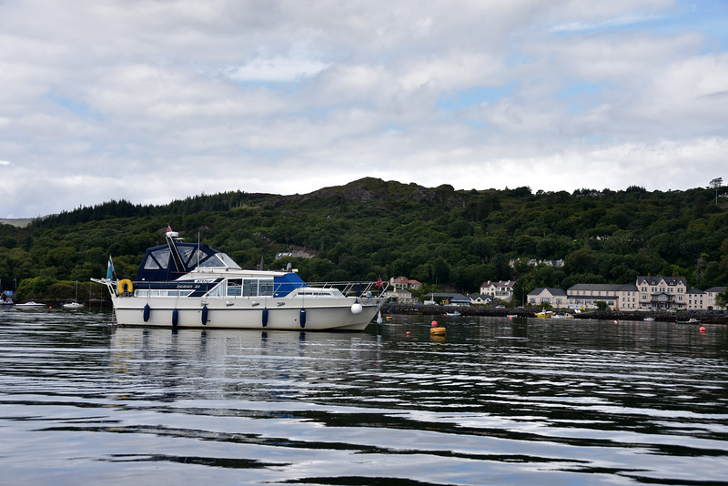 Arthur on a mooring buoy in Glengarriff Harbour. The yellow buoys are the public visitors moorings. The red ones are privately owned.