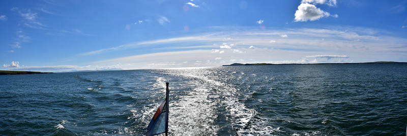 "15:35... A Panorama picture looking astern as ""Arthur"" makes her way up the Shannon Estuary. Carrigaholt slightly to right of centre. Kerry Head, in distance, slightly to left of centre."