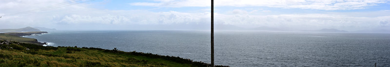 A panorama of Dingle Bay as shot from The Beehive Huts. This is a single image...the bar at centre of photo is actually a telegraph pole!