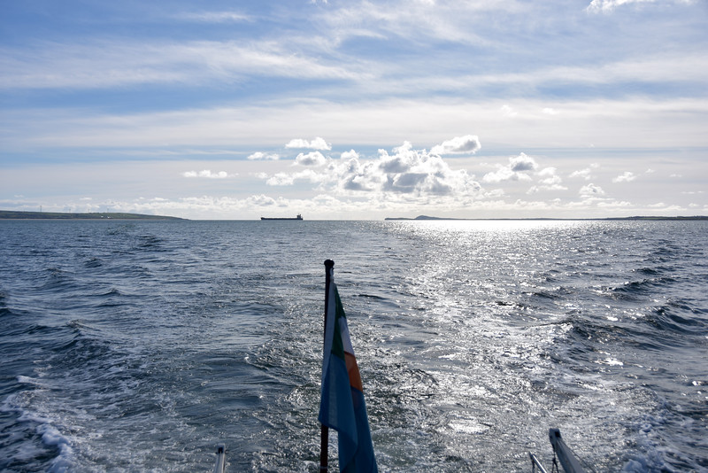 17:52... view from Arthur's stern as we look back down the estuary as Diamantina straddles the channel.