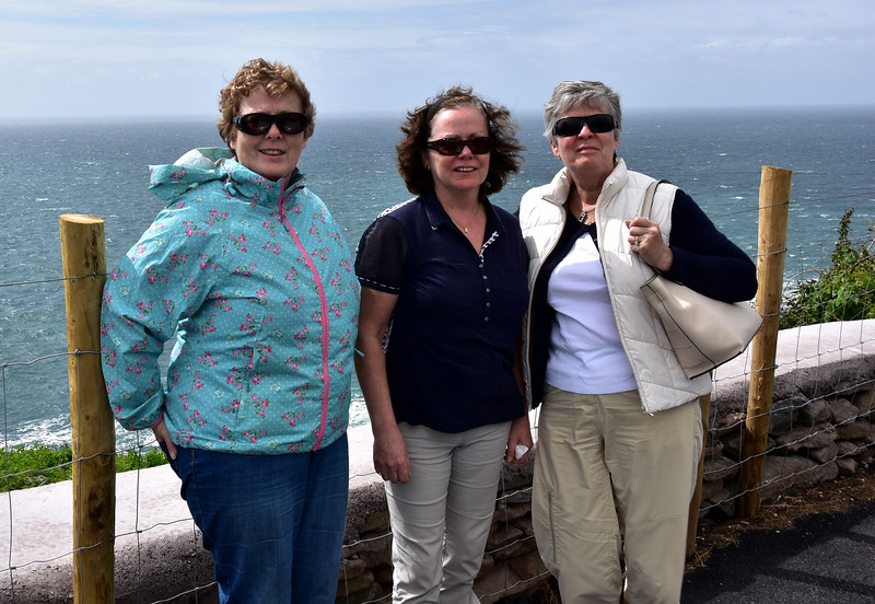 Nora, Mary H and Mary S with Dingle Bay behind them. Note the 'white horses' in the background!