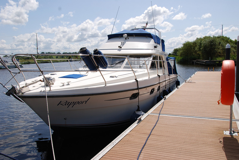 Wednesday, 15th July. Rapport(Princess 35) at the quay side south of Portumna swing bridge ready to begin a five week Cruise-in-Company with Arthur (Broom Ocean 37) and Besie (Broom European - 35ft).